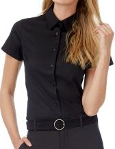 Poplin Shirt Black Tie Short Sleeve / Women