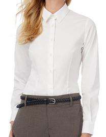 Poplin Shirt Black Tie Long Sleeve / Women